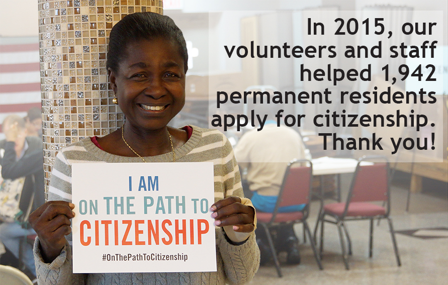 Participant helped by Citizenship Now! at one of our events