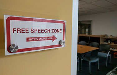 free speech zone arrow brevity encouraged