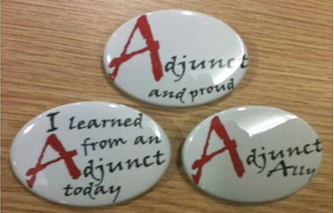 Three buttons: Adjunct and proud, I learned from an Adjunct today, and Adjunct Ally.