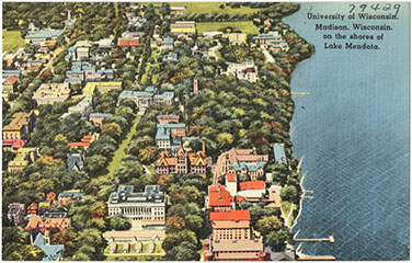 Postcard of University of Wisconsin, about 1945