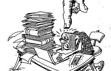 illustration of stressed researcher under huge finger