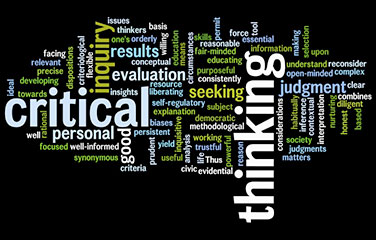 Critical thinking definition displayed as a word cloud