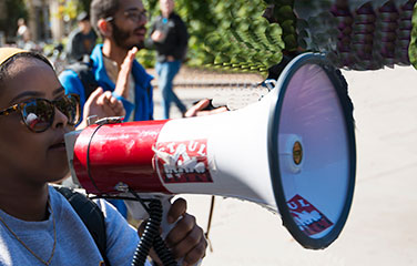 megaphone held by a protester