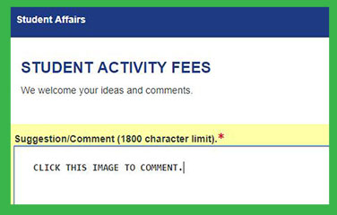 Student Activity Fees Comment screen capture