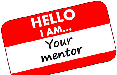 "name badge, ""Hello I am...your mentor"""