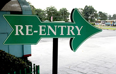 arrow sign reads re-entry