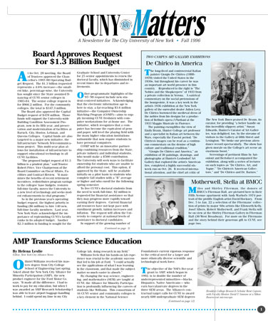 CUNY Matters cover for Fall 1996