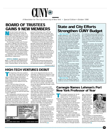 CUNY Matters cover for October 1996