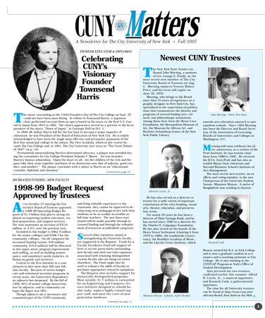 CUNY Matters cover for Fall 1997