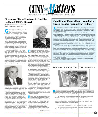 CUNY Matters cover for Winter 1997