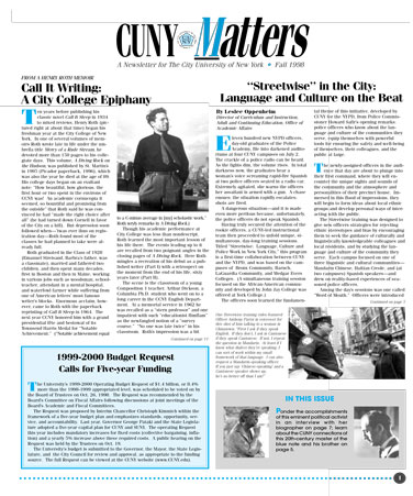 CUNY Matters cover for Fall 1998