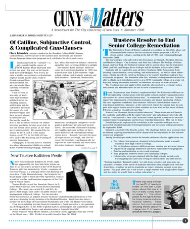 CUNY Matters cover for Summer 1998