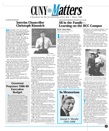 CUNY Matters cover for Winter 1998