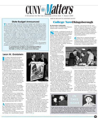 CUNY Matters cover for Winter 1999
