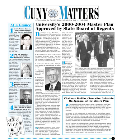 CUNY Matters cover for Fall 2000