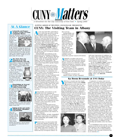 CUNY Matters cover for Spring 2000