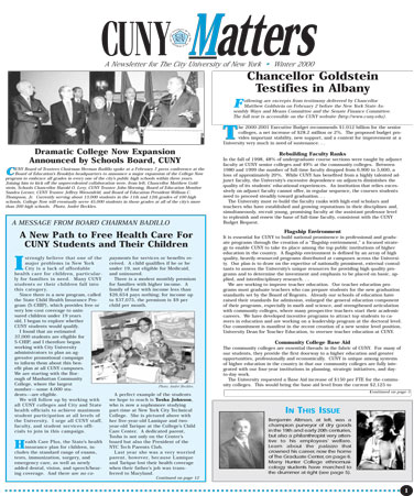 CUNY Matters cover for Winter 2000