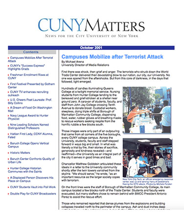CUNY Matters cover for October 2001