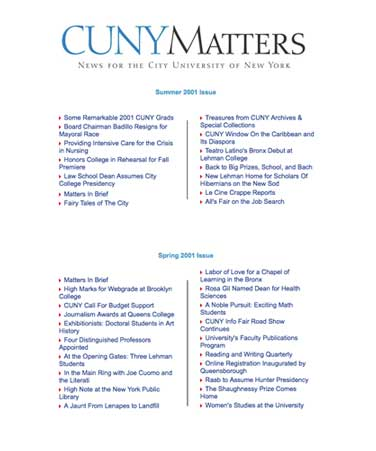 CUNY Matters cover for Winter 2001