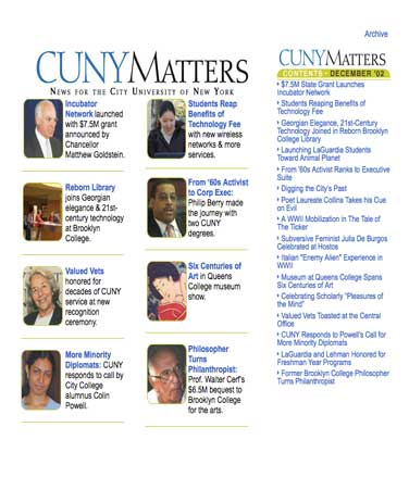 CUNY Matters cover for December 2002