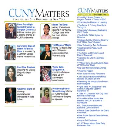 CUNY Matters cover for October 2002