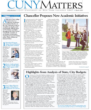 CUNY Matters cover for March 2003