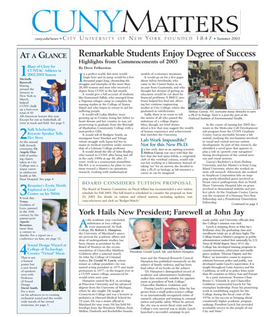 CUNY Matters cover for Summer 2003