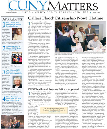 CUNY Matters cover for June 2004