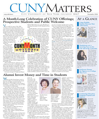 CUNY Matters cover for November 2004