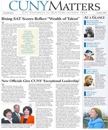 CUNY Matters cover for October 2004