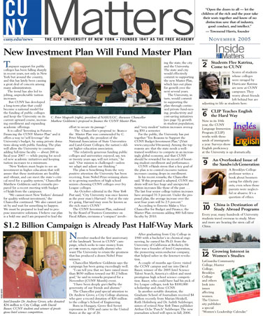 CUNY Matters cover for November 2005