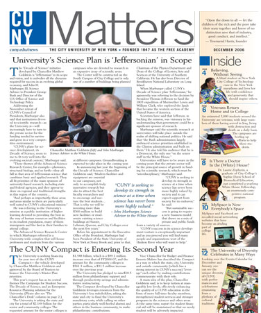 CUNY Matters cover for December 2006