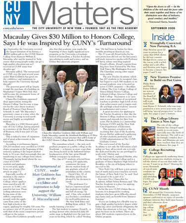 CUNY Matters cover for September 2006