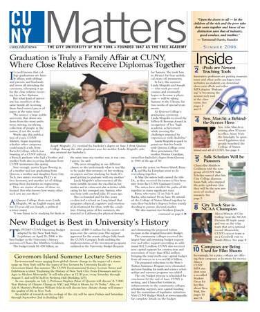 CUNY Matters cover for Summer 2006