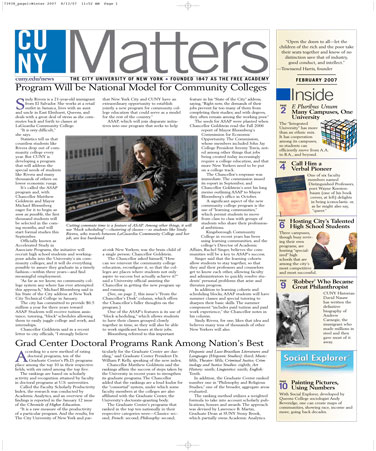 CUNY Matters cover for February 2007