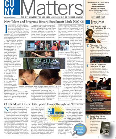 CUNY Matters cover for November 2007