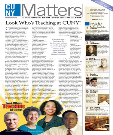 CUNY Matters cover for Spring 2007