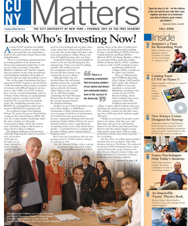 CUNY Matters cover for Fall 2008