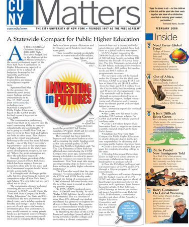CUNY Matters cover for February 2008