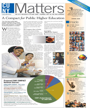 CUNY Matters cover for March 2008