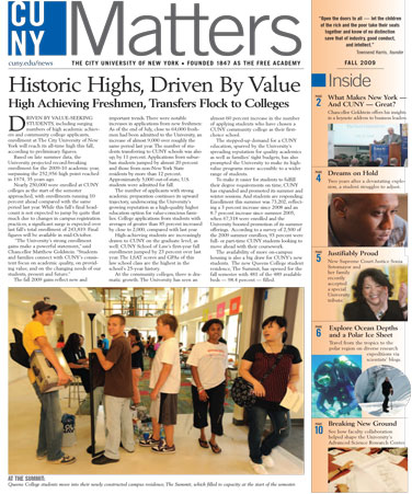 CUNY Matters cover for Fall 2009