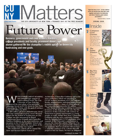 CUNY Matters cover for May 2009