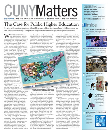 CUNY Matters cover for November 2009