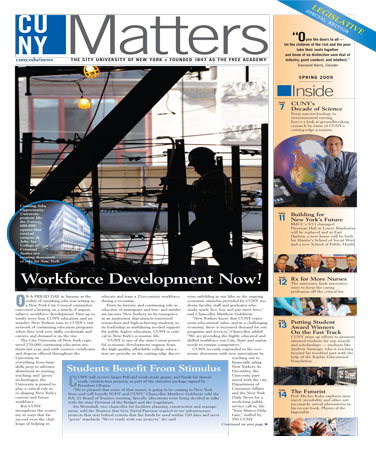 CUNY Matters cover Spring 2009