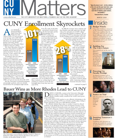 CUNY Matters cover Winter 2009