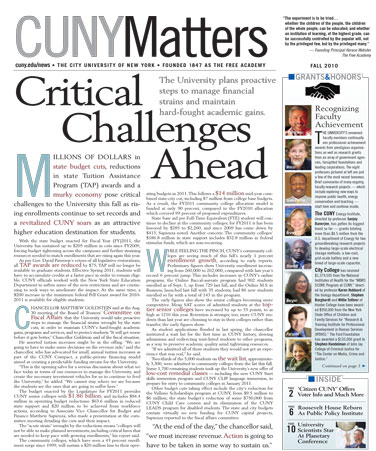 CUNY Matters cover Fall 2010