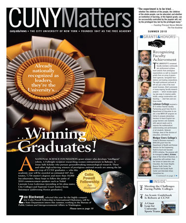 CUNY Matters cover Summer 2010