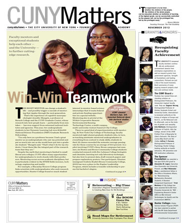 CUNY Matters cover for November 2012