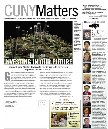CUNY Matters cover for September 2012