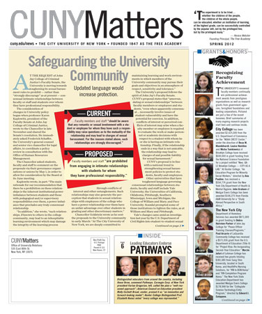 CUNY Matters cover for Spring 2012